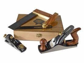 Faithfull Carpenters Tool Set in Wooden Presentation Box, 4 Piece Set Block plane, square, bevel