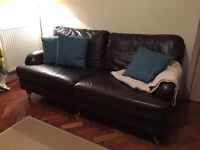 Beautiful leather sofa, chair and footstool