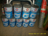 vintage full gulf oil cans