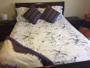 Queen white, black and grey comforter set