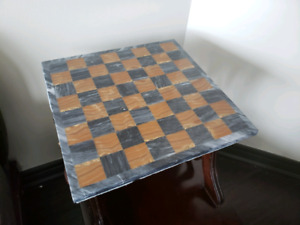 """Vintage Solid Marble Stone Chess / Checkers board 14""""x14"""""""