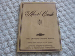 1987 Chev, Monte Carlo owners manual