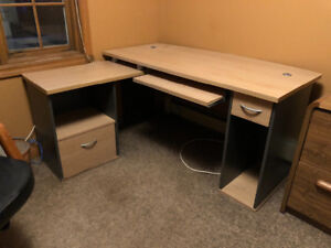 Desk, Chair and wood filing cabinet