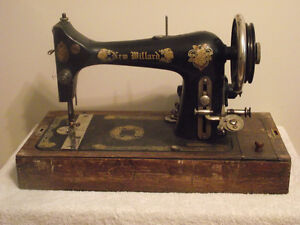 Antique 'New Millard' Electric Sewing Machine with Wood Cover