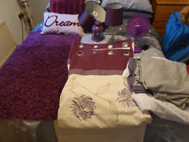 Purple Home Bundle Curtains Rug Lamp and more