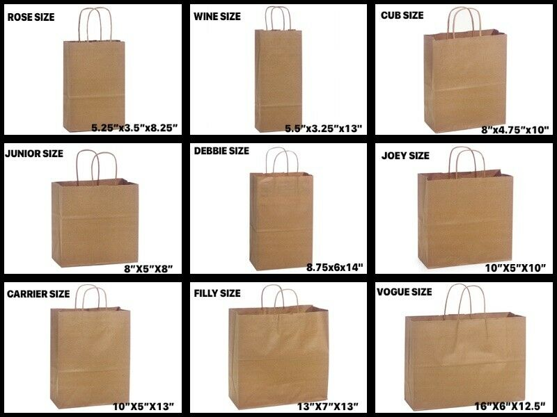Natural Kraft Shopping Gift Bags 60# paper weight Choose Siz