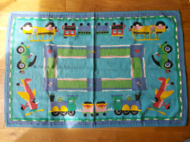 Kids Boys Bedroom Playroom Rug 140 x 96 cm with vehicles woven cotton