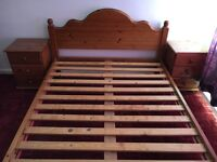 Double pine bed frame with two bedsides with delivery within Brighton area