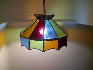Stained glass light fixture - Tiffany-style - hanging