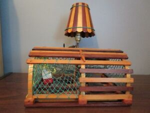 Antique Hand Made Lobster Trap Table Lamp