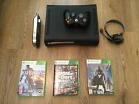 XBOX 360 + 3 GAMES + HEADSET + CONTROLLERS+ WIFI ADPT