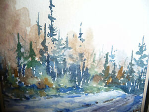 "Myrna Wilkinson ""Winter Shadows"" Original Small Watercolor Stratford Kitchener Area image 3"