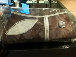 New Brown and Silver Clutch -$25 or best offer!