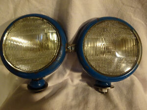 Pair Vintage Tractor Lights ( New Holland ? ) - Rat Rod
