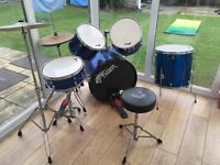 Full size electric blue Tiger drums,,