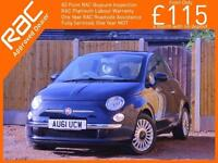 2011 Fiat 500 0.9 Twinair Lounge 5 Speed Start Stop Climate Control Sunroof Blue