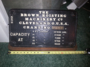 Railroad train crane builder plate.