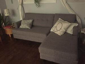 Almost Brand New Grey L Couch from HomeSense