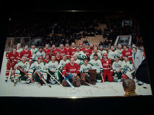 Russia CCCP Hockey & Edmonton Old Timers Signed Framed picture