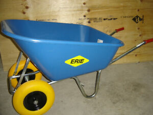 Wheelbarrow 10 CuFt Blue Poly Tray with Dual Flat Free Tires