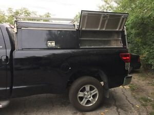 8' Truck cap with tool boxes, keys, aluminum, contractor utility