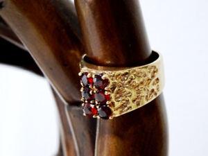 ESTATE heirloom ANTIQUE ring GARNETS cast gold HALLMARKED 6-6.5