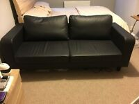 3 seater couch, black leather