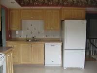 Ensemble d'armoires et comptoirs de cuisine usagés en bois
