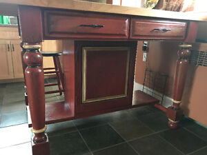 Stunning Custom Kitchen Island and 4 Matching Stools