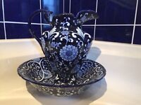 Royal Navy blue and white decorative Jug and Dish/Bow