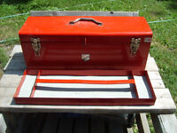Red Metal Tools Storage Box With Tray, Padded, Canadian Made