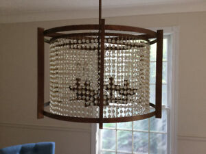 Iron and glass bead chandelier