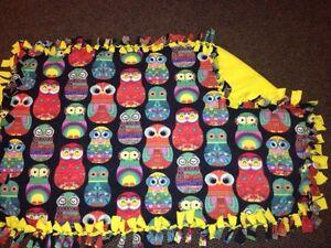 Owl handmade fleece blanket
