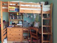 Desk bunk bed
