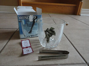 Brand new in box Italian glass ice bucket with tongs London Ontario image 5