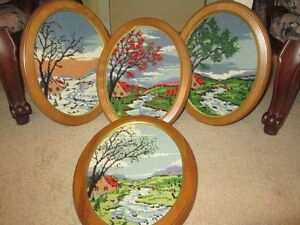 4 Beautiful hand cross stitched pictures of the seasons