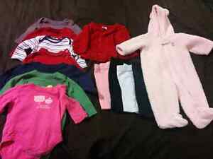 Assortment of 3-6 month clothing.