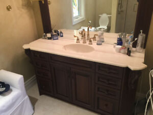 Bathroom Marble Vanity and Mirror