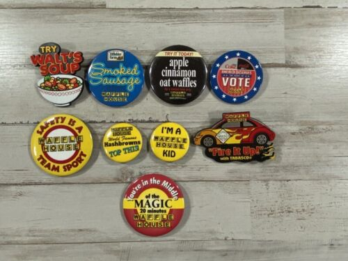 9 Authentic Waffle House Buttons - I'm A Waffle House Kid - Free Shipping!