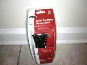 Belkin 12ft Coiled Phone Handset Cord Black Brand New