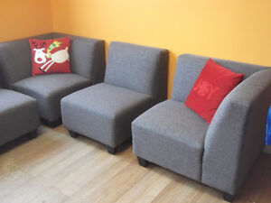 BEAUTIFUL 6 PIECE GREY MODULAR COUCHES - USED 3 WEEKS London Ontario image 10