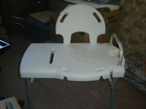 Bath Chair with an extended bench that stands outside of the tub