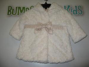 Girl's 0/6 months (Jane&Jack) Faux fur dress coat