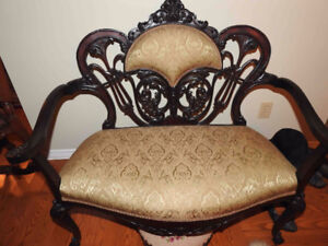 small antique Victorian settee, restored, new fabric REDUCED
