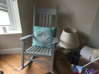 Grey solid wood rocking chair painted in Annie Sloan grey and waxed