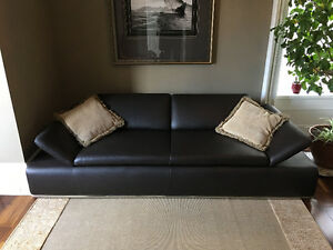 Chocolate Brown Leather Couch and Loveseat