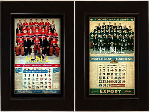 LEAFS-CANADIENS EXPORT CALENDAR COCA COLA-PEPSI-ROCK-SIGN FRAME
