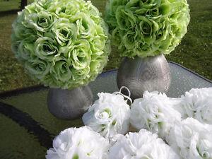 2 Light Green Pomanders and 2 Silver STRUCTUBE Vases Cambridge Kitchener Area image 2