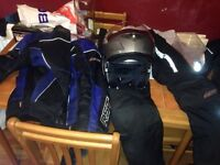 Bike jacket, trousers and helmet