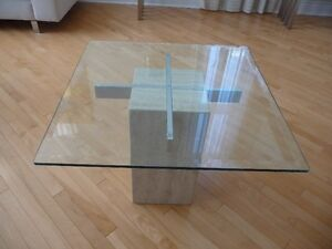 "Marble side table with 3/8"" bevelled glass top"